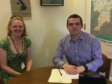 Dr Sarah Jones from NHS Wales, left, and Moray MP Douglas Ross.