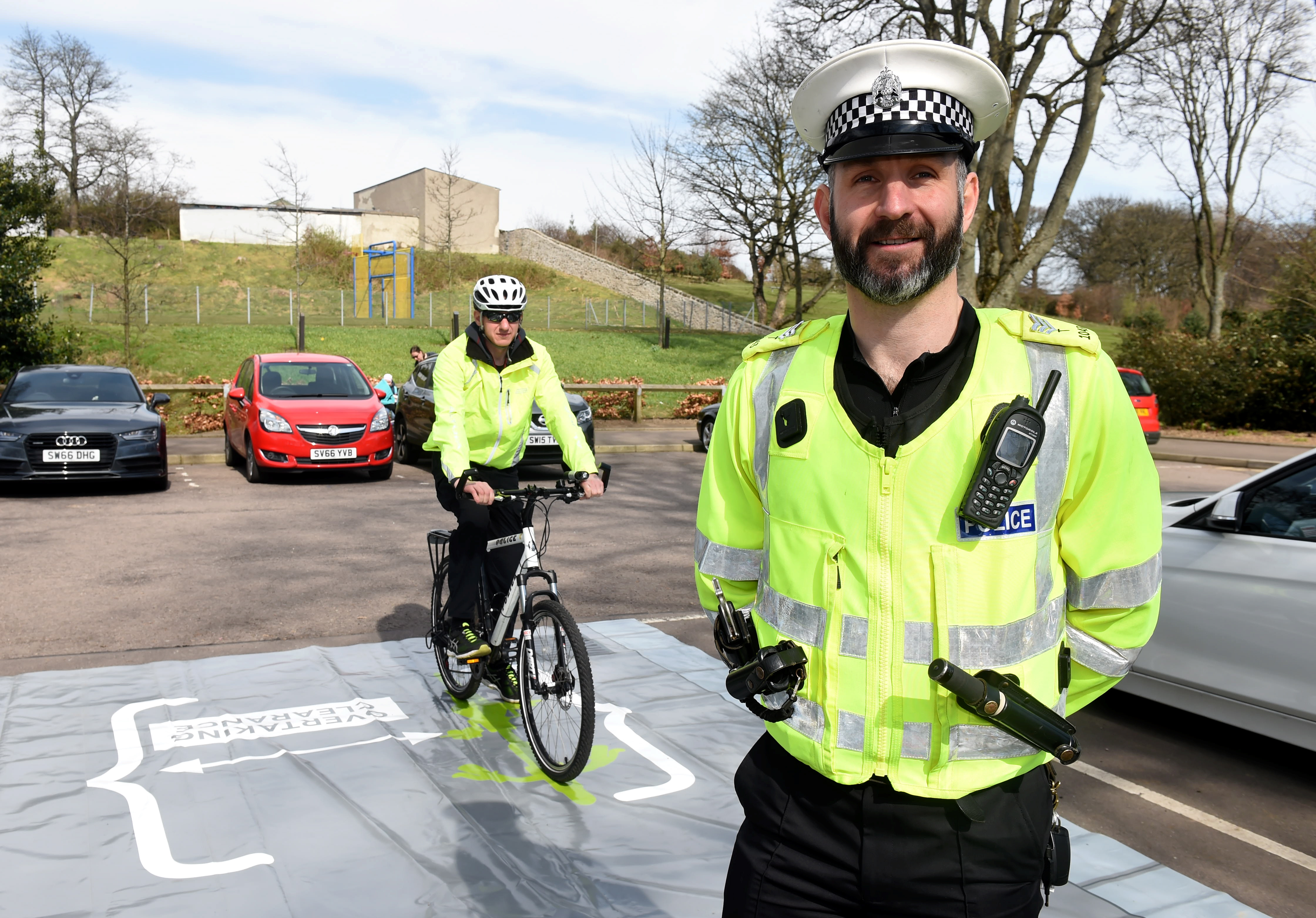 PC Scott Leslie and Road Policing Sergeant Peter Henderson at the launch of Operation Close Pass at Duthie Park,