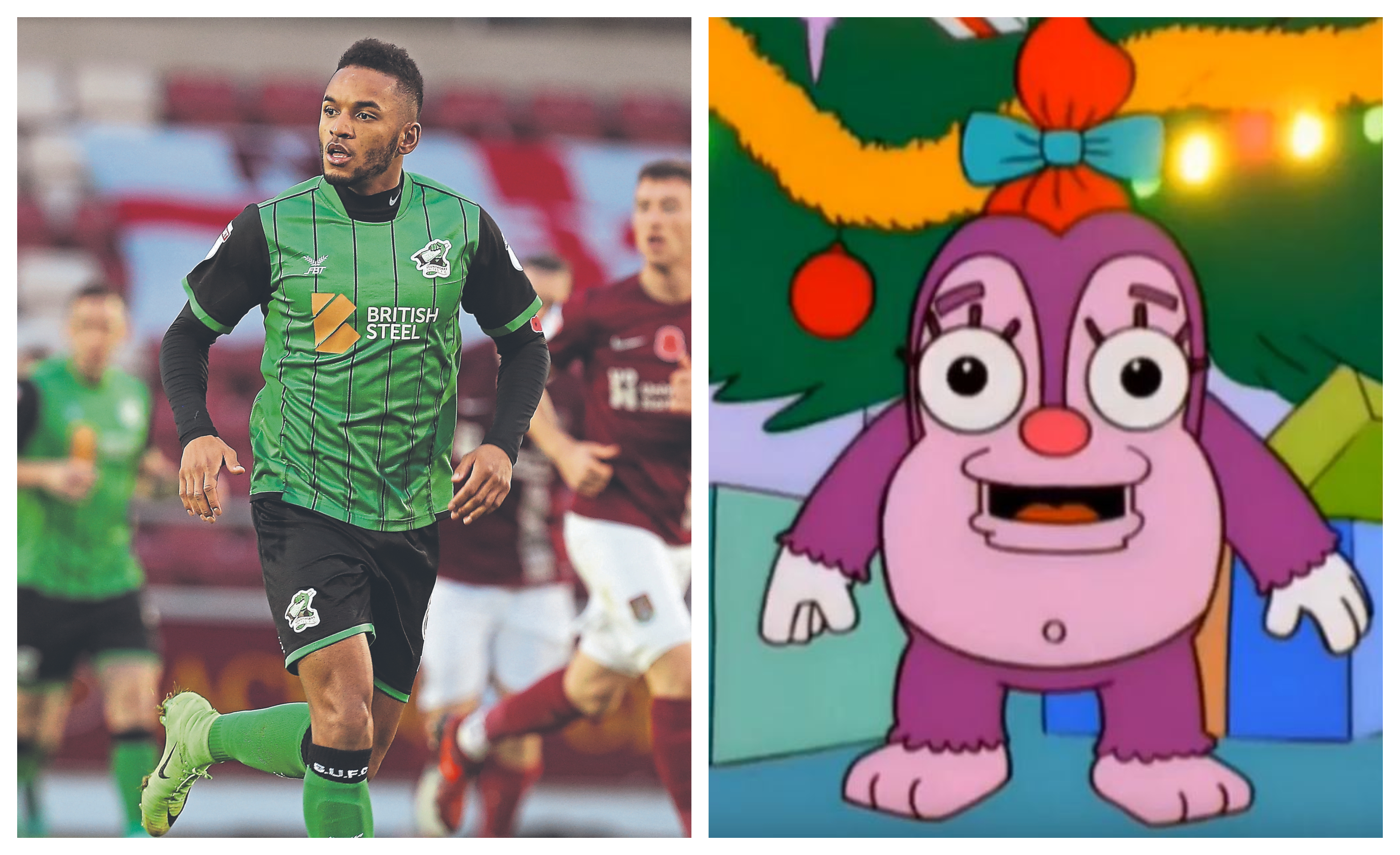 Funso Ojo in action for Scunthorpe (left) and the demonic Simpsons character Funzo.