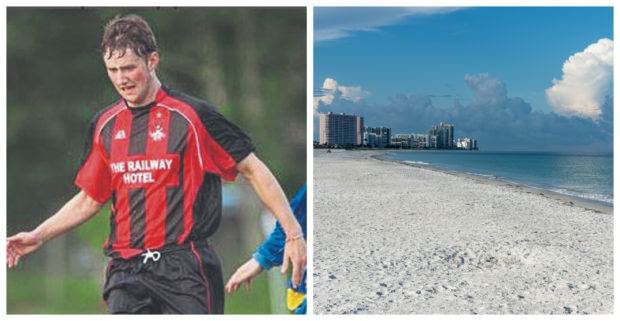 Garry Perks (left) and Clearwater beach.