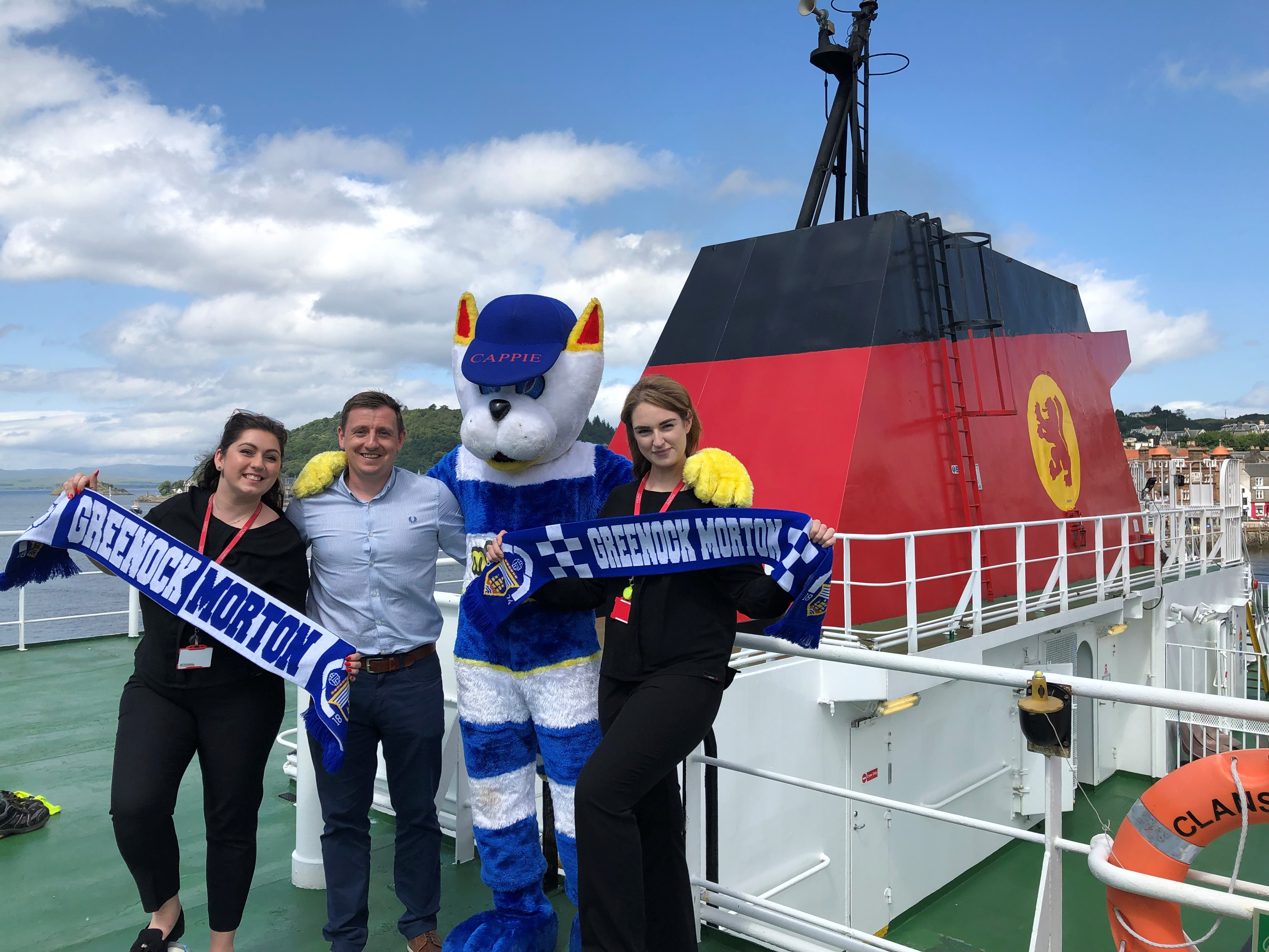 Morton in the Community, chief executive, Brian McLaughlin and Cappie the Cat are joined on a recce for their upcoming trip by CalMac port assistants Rhianna McMahon and Carron MacPhee on board the MV Clansman.
