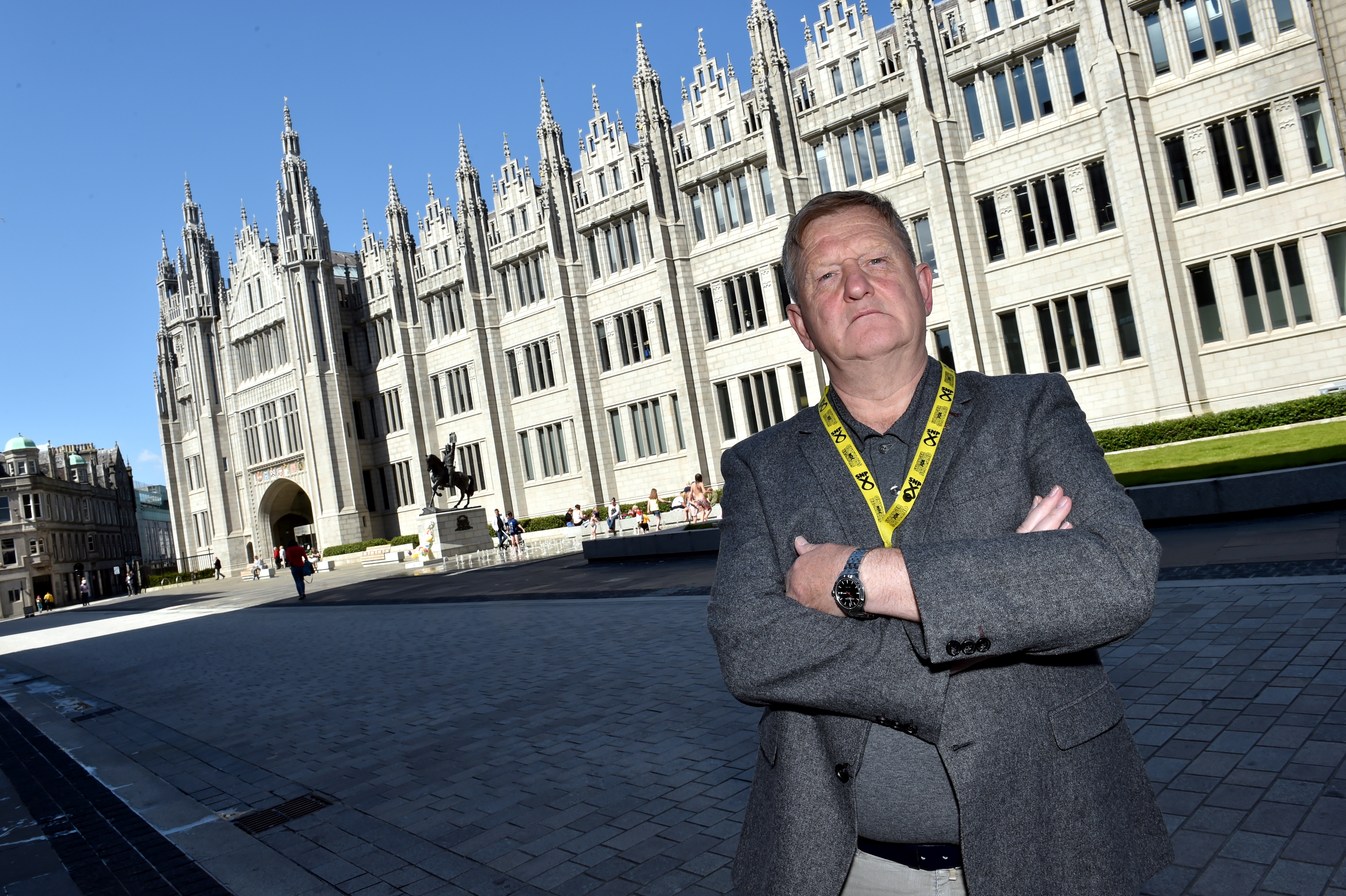City Coucillor Alex Nicol outside Marischal College.