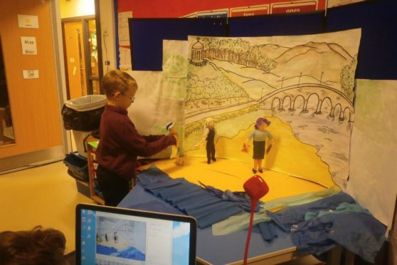 Banff and Macduff Primary School pupils created the video using knitted Broons characters