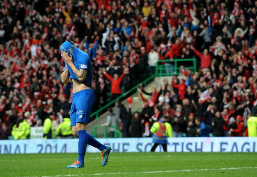 There was heartache in the penalty shootout final against Aberdeen however as Tansey missed his spot kick. Picture by Kenny Elrick