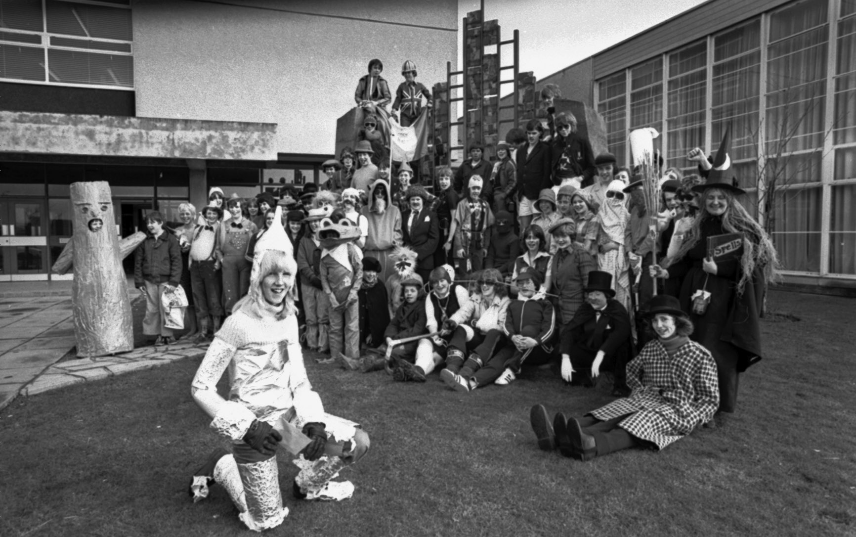 """A """"Dress As You Please"""" day at Mackie Academy, Stonehaven, based on The Wizard of Oz. in 1979"""