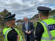 MSP Stewart Stephenson on with officers from the Banff Community Policing Team on the beat at Tarlair