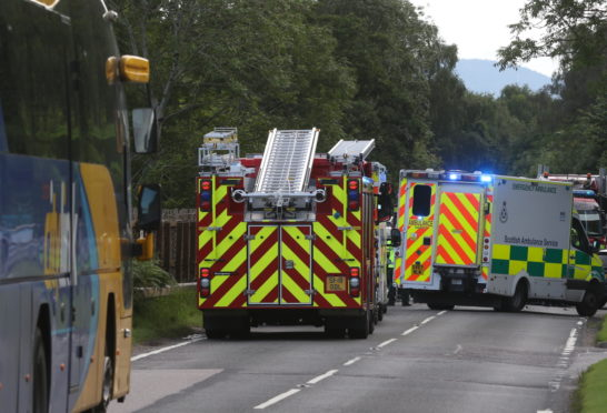 Emergency services at the scene of the crash.