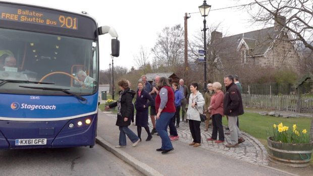 Braemar residents boarding the shuttle bus