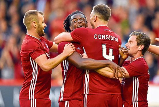 Aberdeen's Greg Leigh celebrating