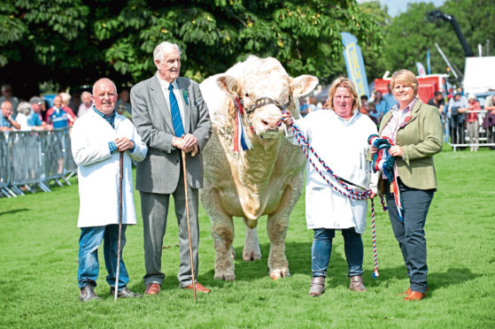 Davy Nicoll, Major Walter, Tracy Nicoll and Joyce Campbell with the show champion of champions.