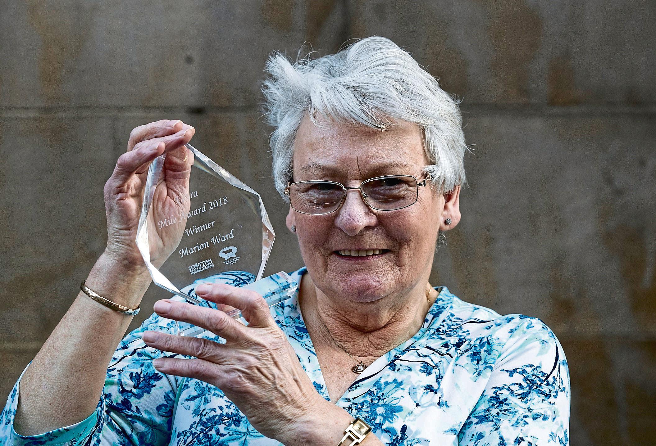 The 2018 Extra Mile Award winner, Marion Ward, from John Dawson Butchers in Muirkirk.