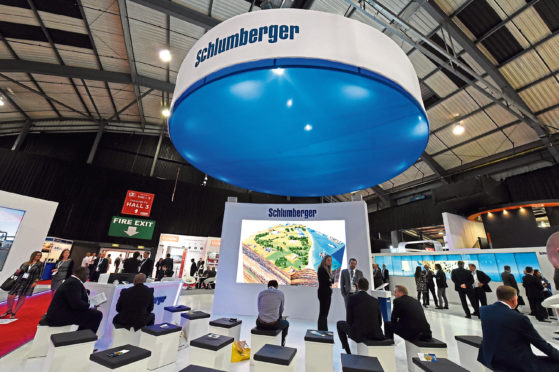 Offshore Europe at Aberdeen exhibition and Conference Centre, Aberdeen. In the picture is the Schlumberger, stand.  Picture by Jim Irvine
