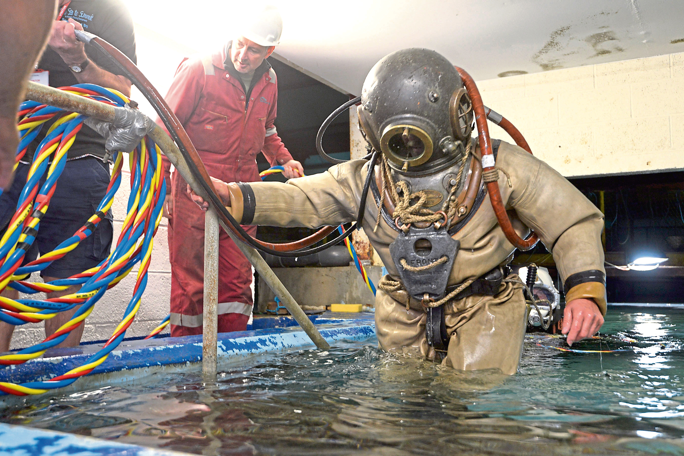 """Diver - VINTAGE DIVER 31/8/18 Paul (Ginge) Guiver emerges from the tank at Fort William's 'Underwater Centre"""". PICTURE IAIN FERGUSON, THE WRITE IMAGE"""