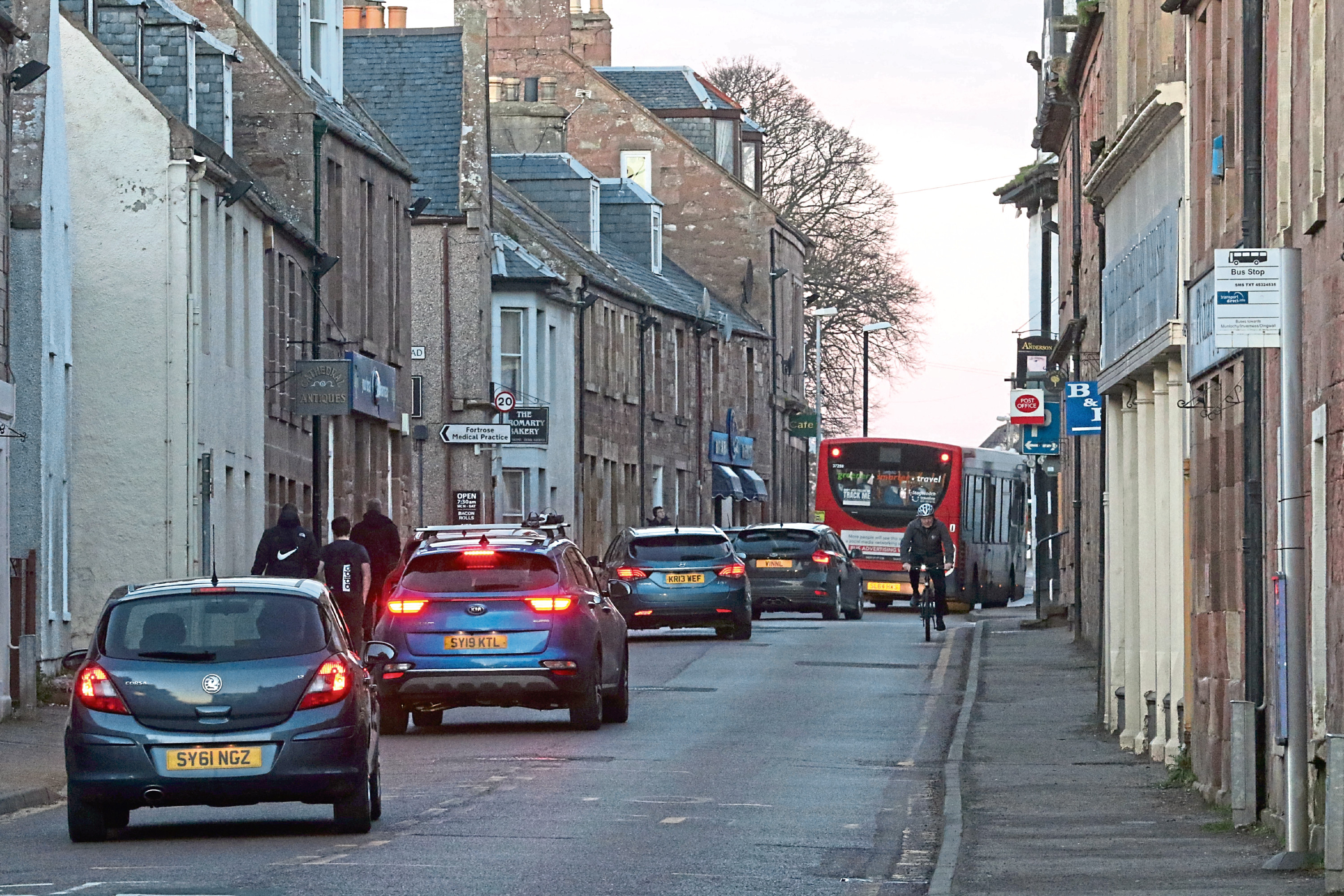 5 March 2019: Traffic on Fortrose high street. Picture: Andrew Smith