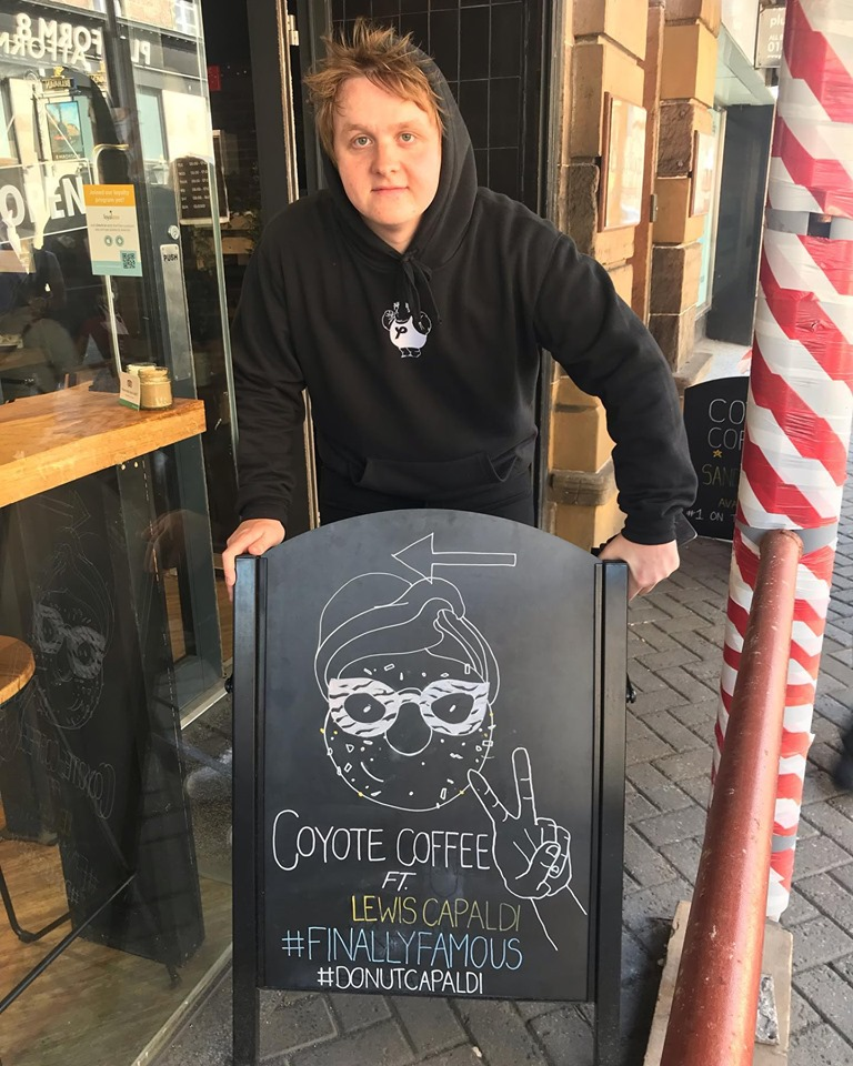 Lewis Capaldi at Coyote Coffee and Donuts in Inverness