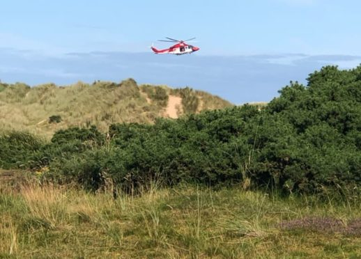 The helicopter over Balmedie Beach
