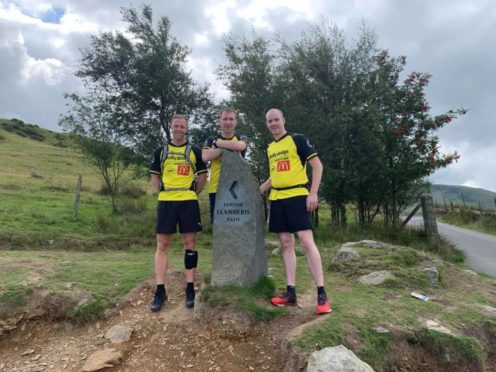 Intrepid climbers Bryan Simpson, Craig Forbes and Darren Quigg