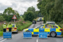 3 August 2019. B9170 Road, Oldmeldrum to Methlick, Aberddeenshire, Scotland, UK. This is the scene of the RTC involving a Hyundai SUV and a Motorcyclist at the above location approximately 1 mile North East of the Meldrum House Hotel.