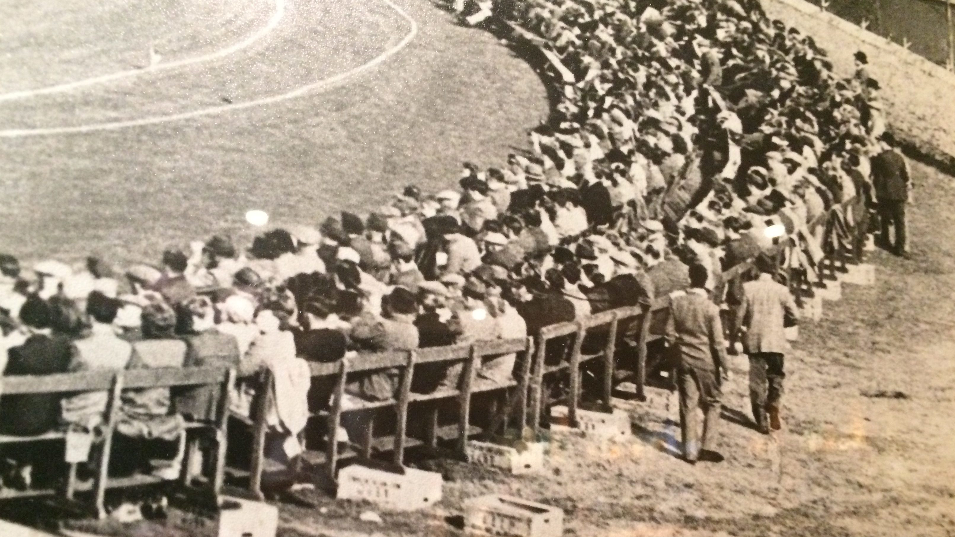The packed crowds at the Scotland versus Australia match in 1948.