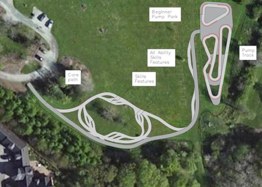 Proposed bike track designed created by Velosolutions UK for Haughton Park.