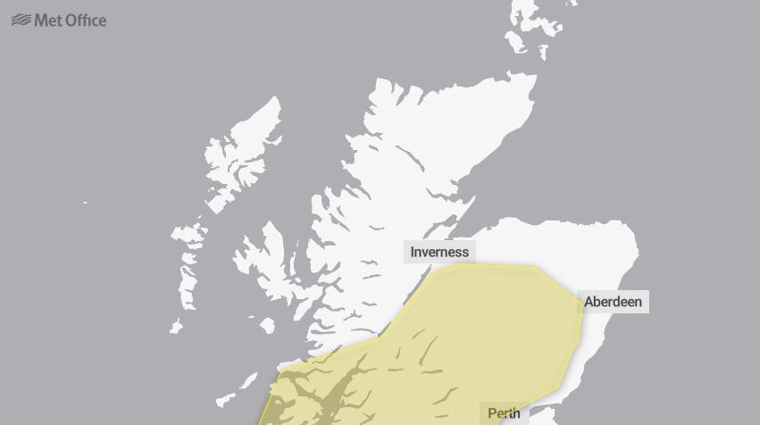 Met office has issued a yellow warning for wet weather.