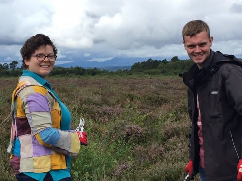 Students Leanne May and Lewis Gallie at Culloden.