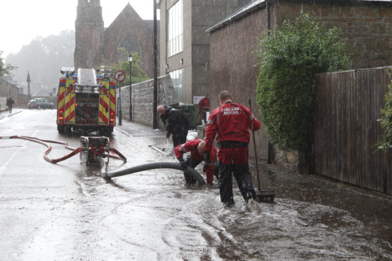 Flooding in Dingwall at the  Theological College