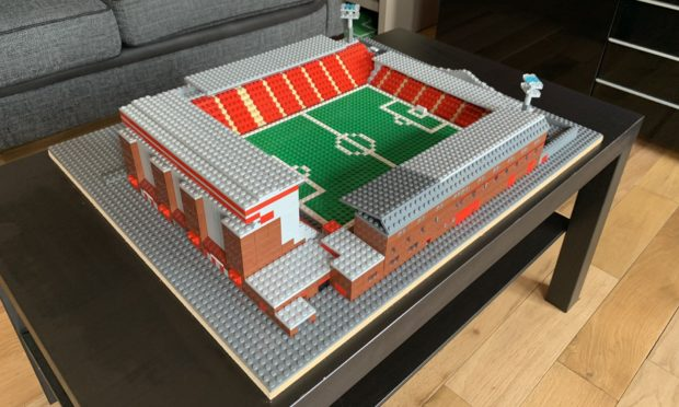 Pittodrie stadium recreated with Lego pieces.