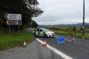 Police were called to a car on its roof on the B993 beside Monymusk.