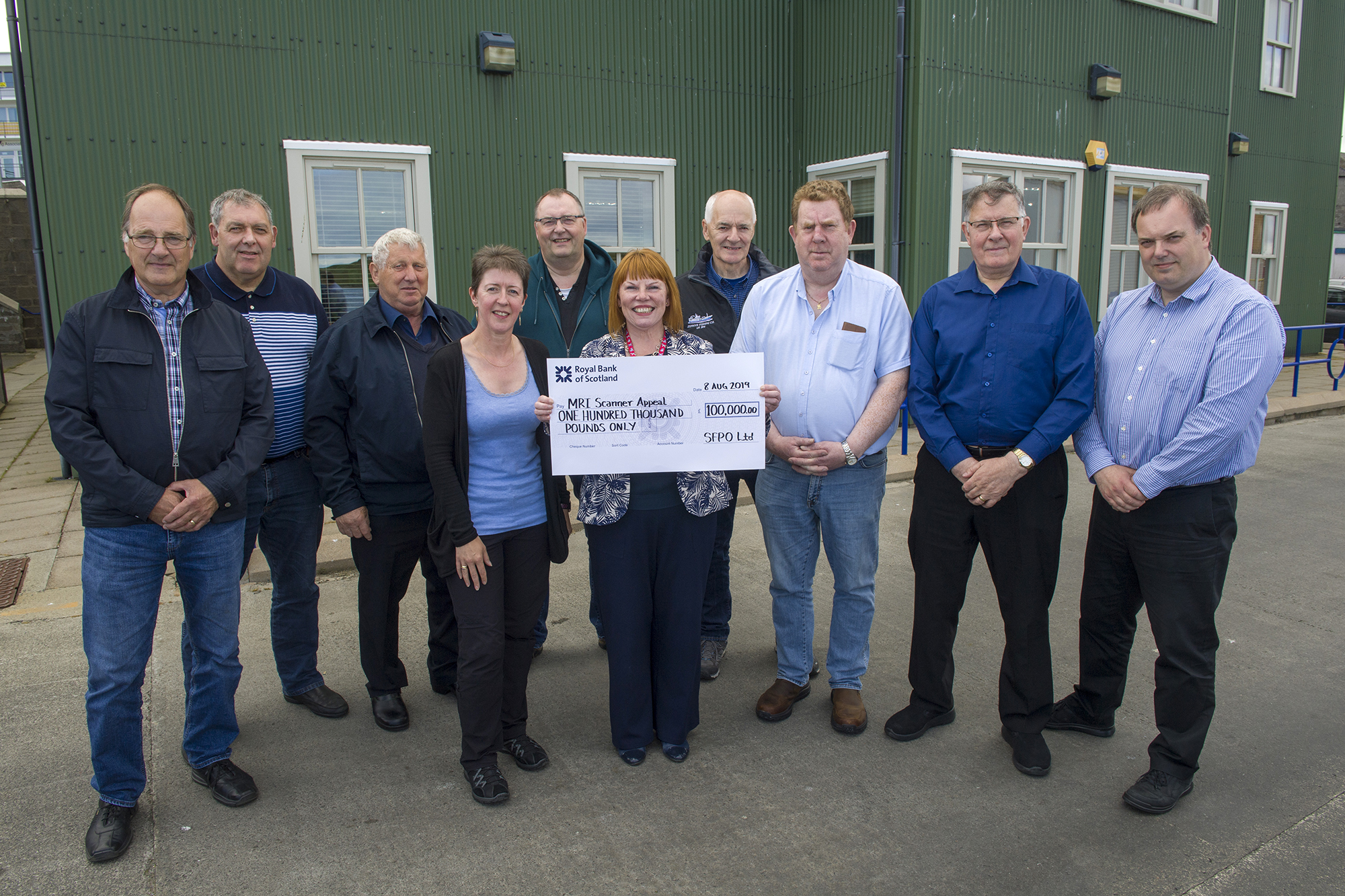 From left, Tommy Eunson (Serene); George William Anderson (Adenia); Davie Hutchison (Charisma); Una Simpson, (SFPO); Gary Williamson (Research) Lorraine Hall, NHS director of human resources and support services; Allister Irvine (Zephyr); Raymond Stewart (Antarctic II); Lowrie Irvine (Antares); Brian Isbister (SFPO).