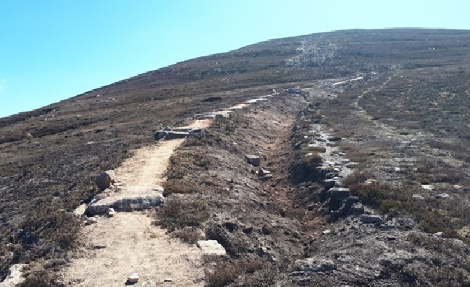 A section of the finished path on Mount Keen.