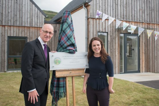 Deputy First Minister John Swinney with local MSP Kate Forbes at the official opening of Strontian Primary School.