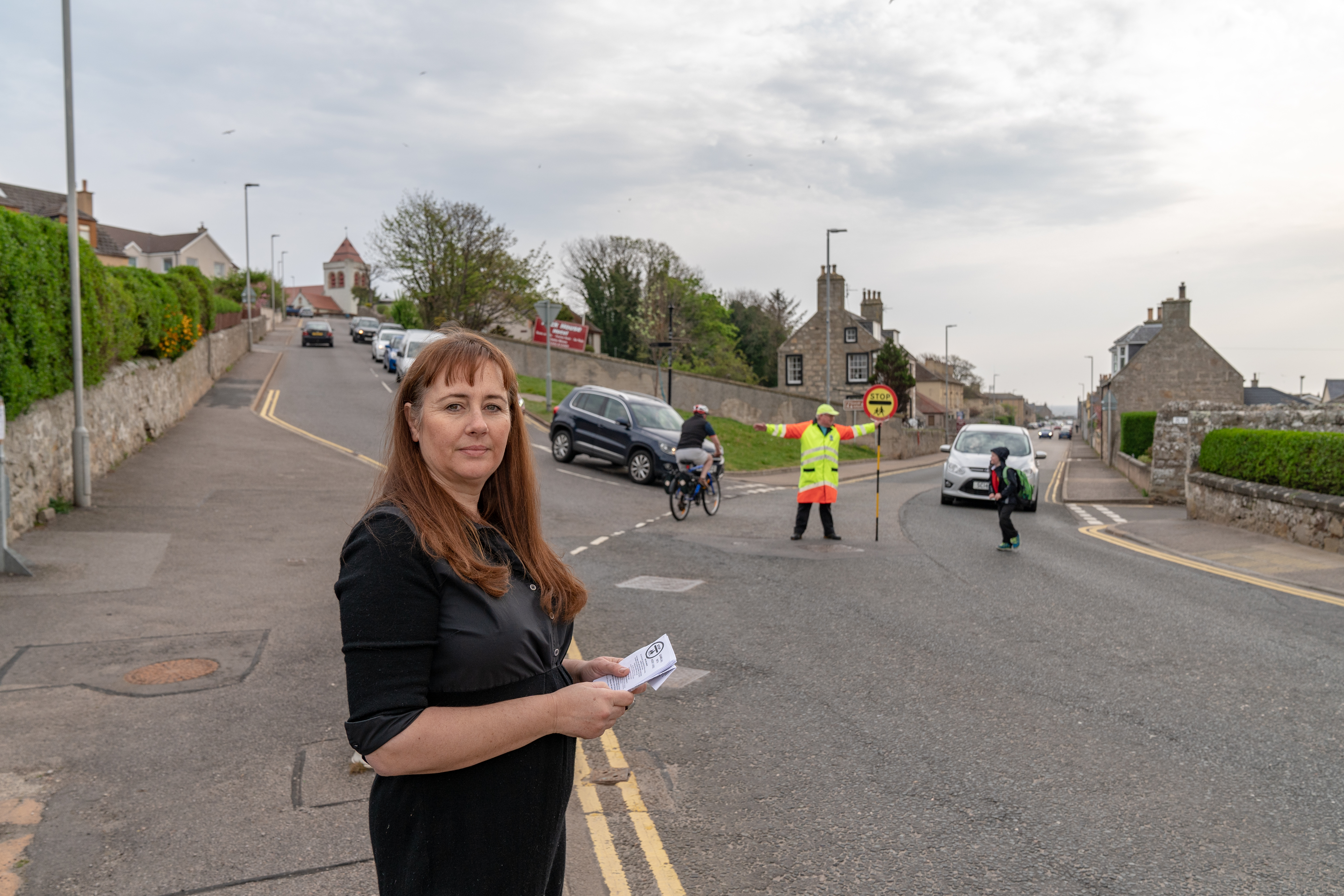 Amanda Nasser, chairwoman of St Gerardine Primary School's parent council, at the School Brae junction in Lossiemouth.