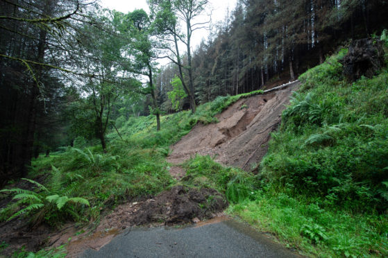 A landslip has caused the Cairnty Road near Mulben to be closed.