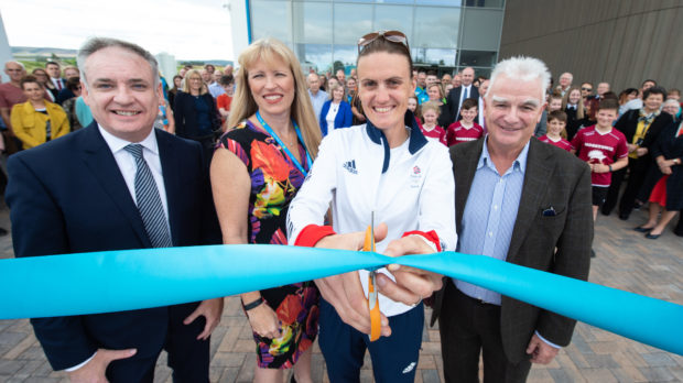 Double Olympic gold medallist rower Heather Stanning officially opens new Moray Sports Centre while meeting school pupils and challenging people to go head-to-head with her on rowing machine. Picture by Jason Hedges