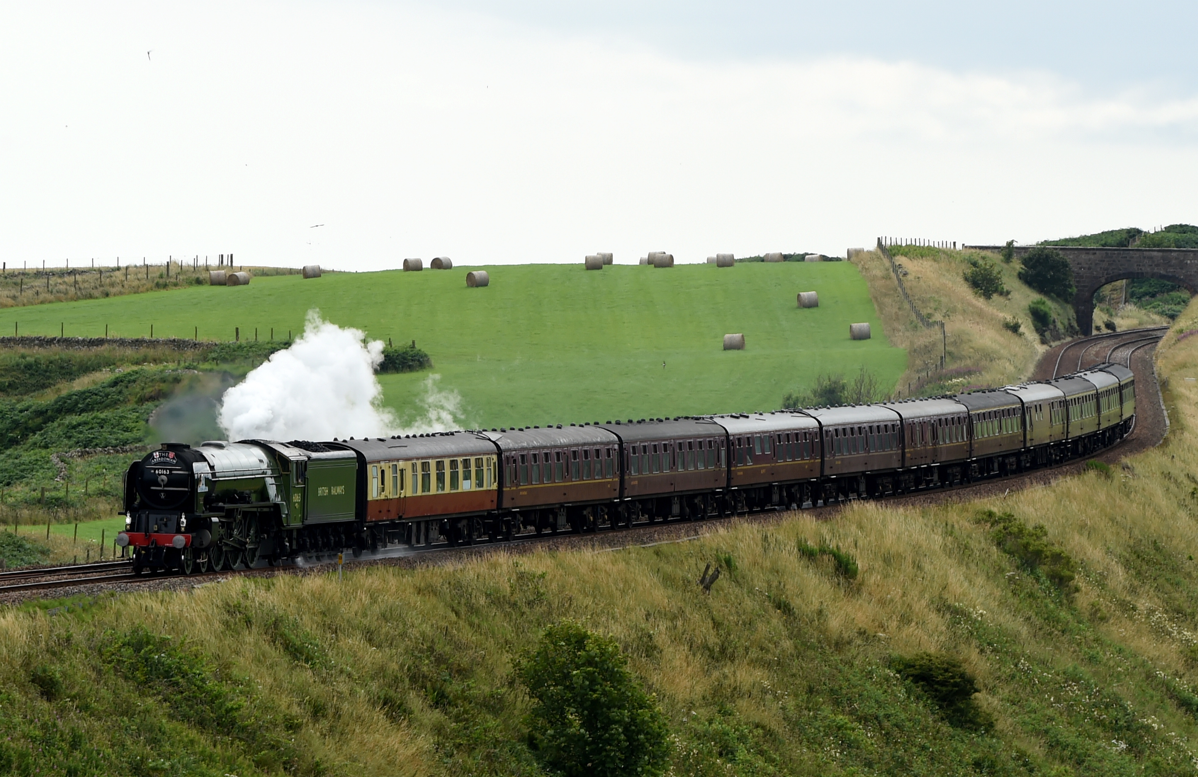 Tornado steam train passes over the Muchalls Bend near Stonehaven.  Picture by Kenny Elrick
