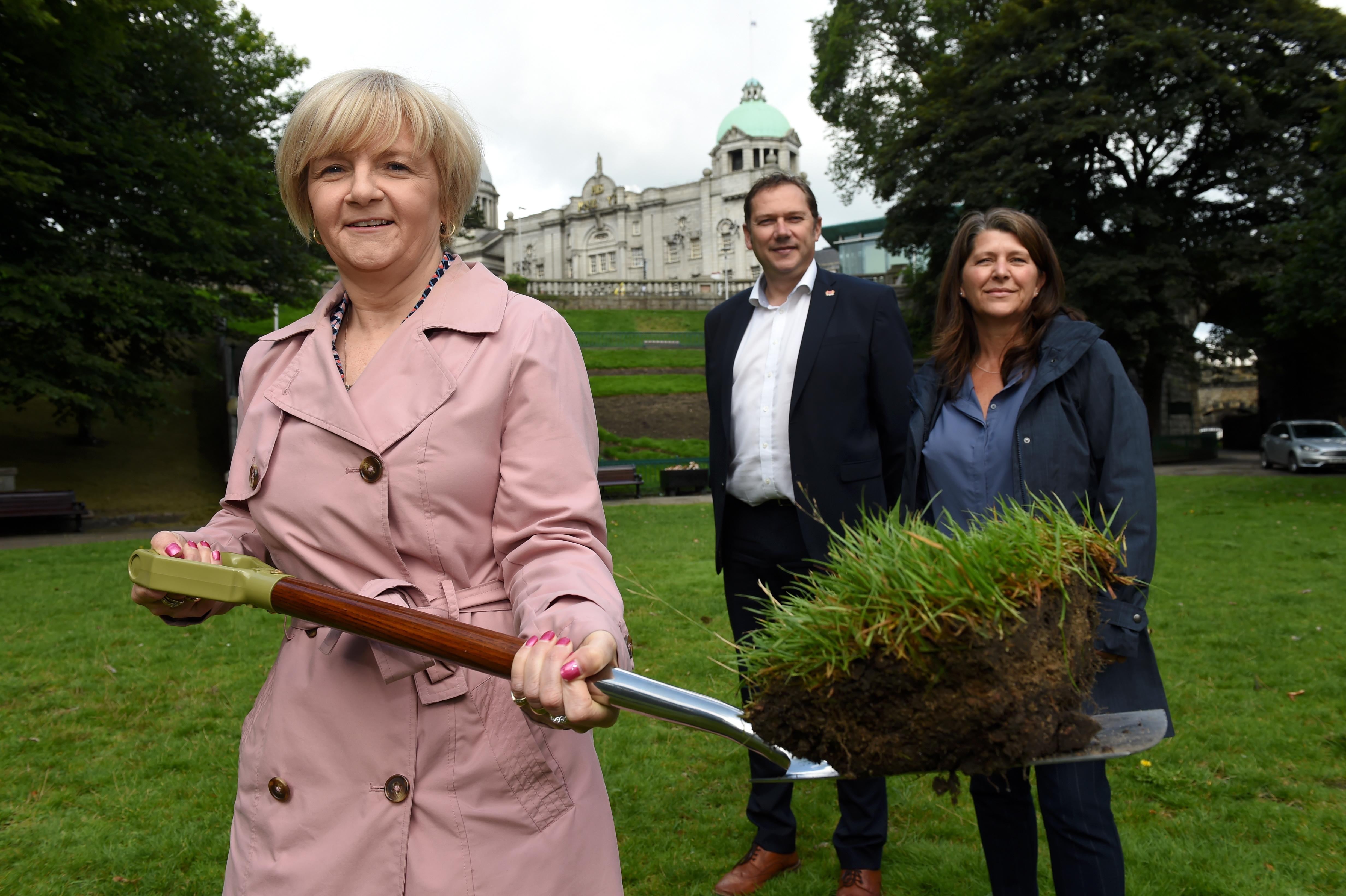 Council Co-Leaders Cllr Jenny Laing, Douglas Lumsden and culture spokesperson Cllr Marie Boulton.