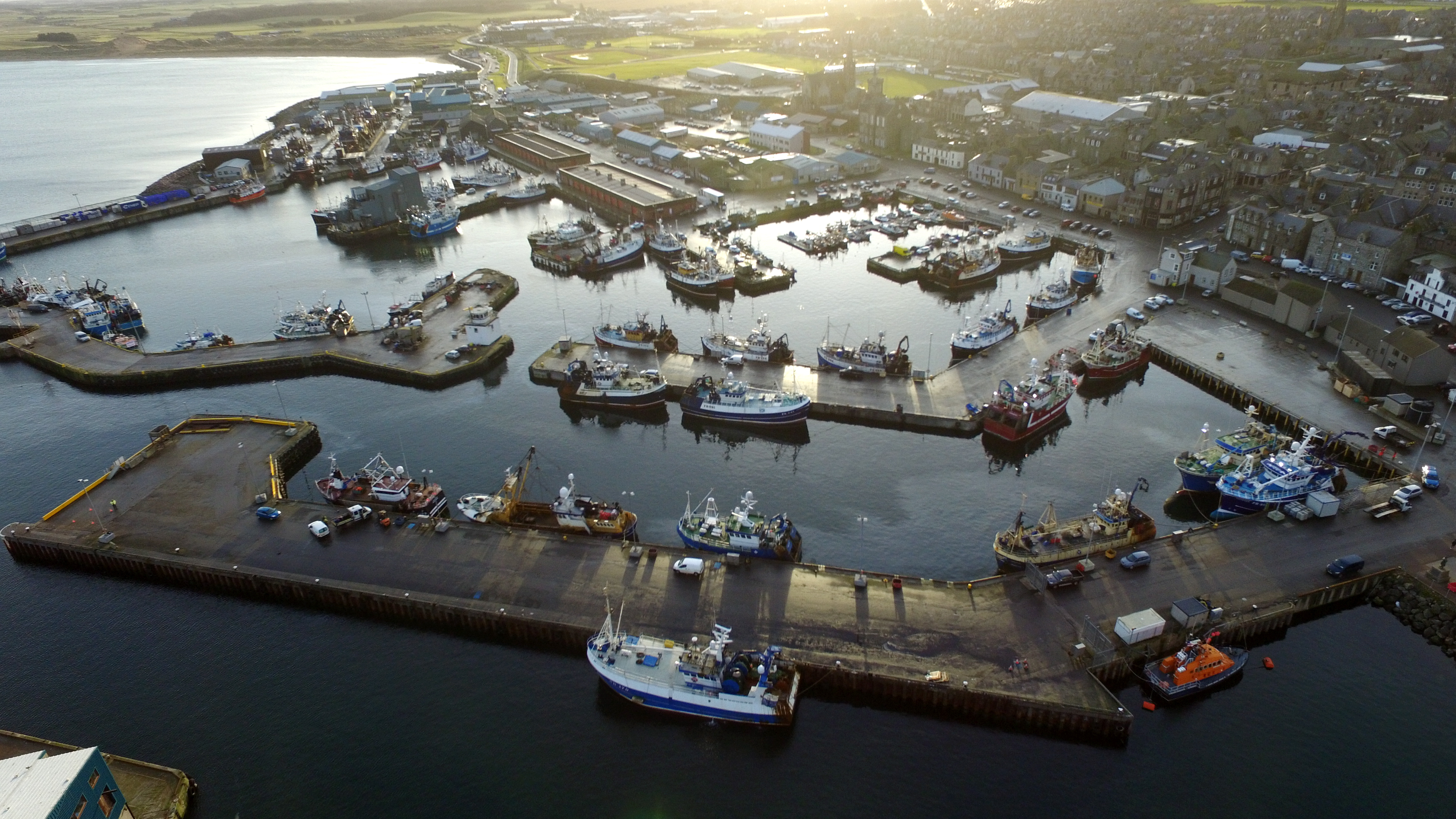Aerial locator of Fraserburgh Harbour.  Aerial Image - Drone / Phantom 3 advanced.  Picture by KENNY ELRICK