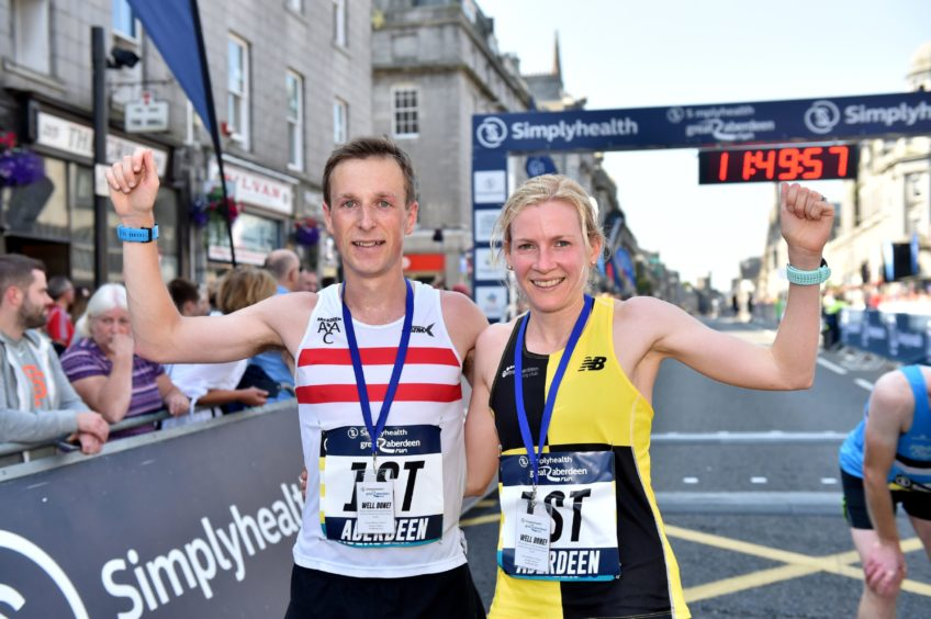 Men/Women' Half Marathon Winners - James Hoad and Fiona Brian.   Picture by Scott Baxter