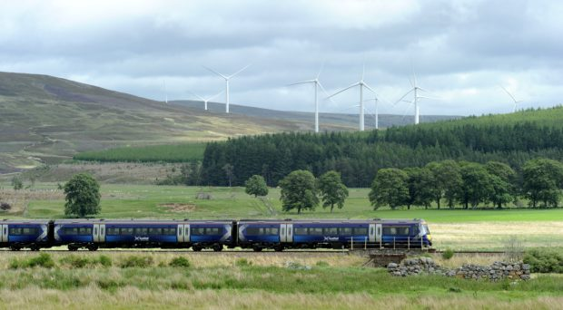 A ScotRail train on the Inverness to Perth line.