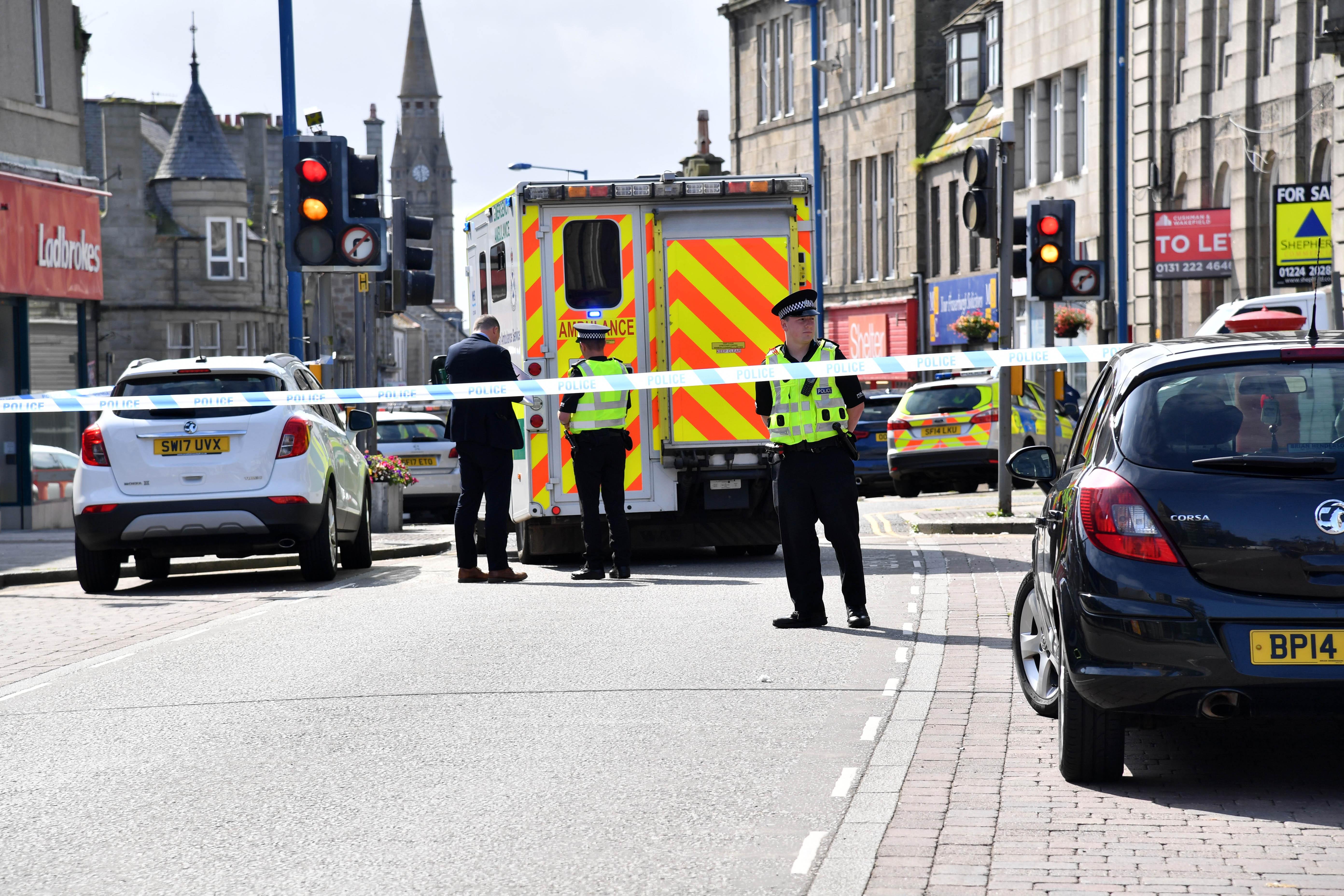 The scene on Broad Street, Fraserburgh