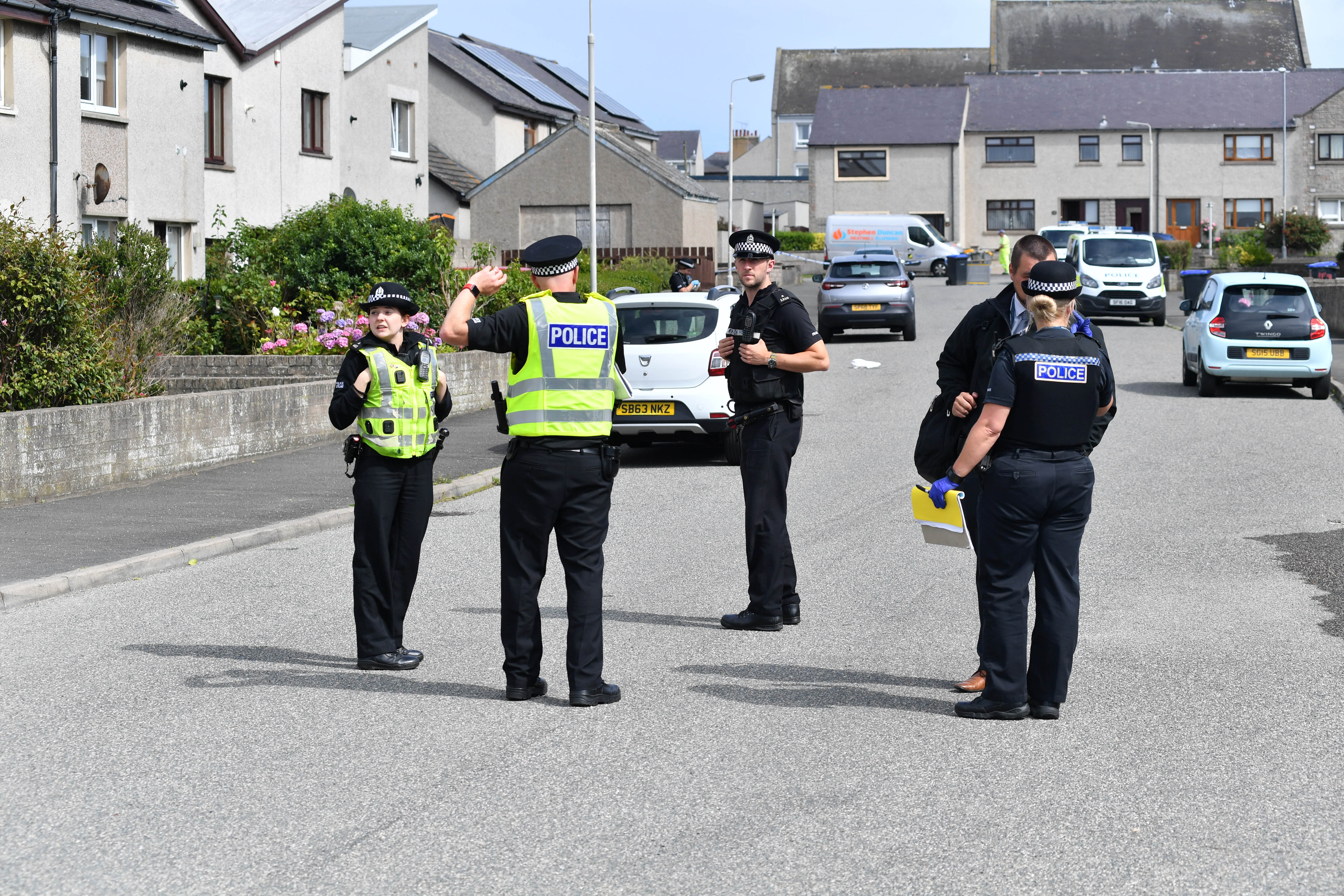 Police at the scene of the incident on Chapelhill Road in Fraserburgh