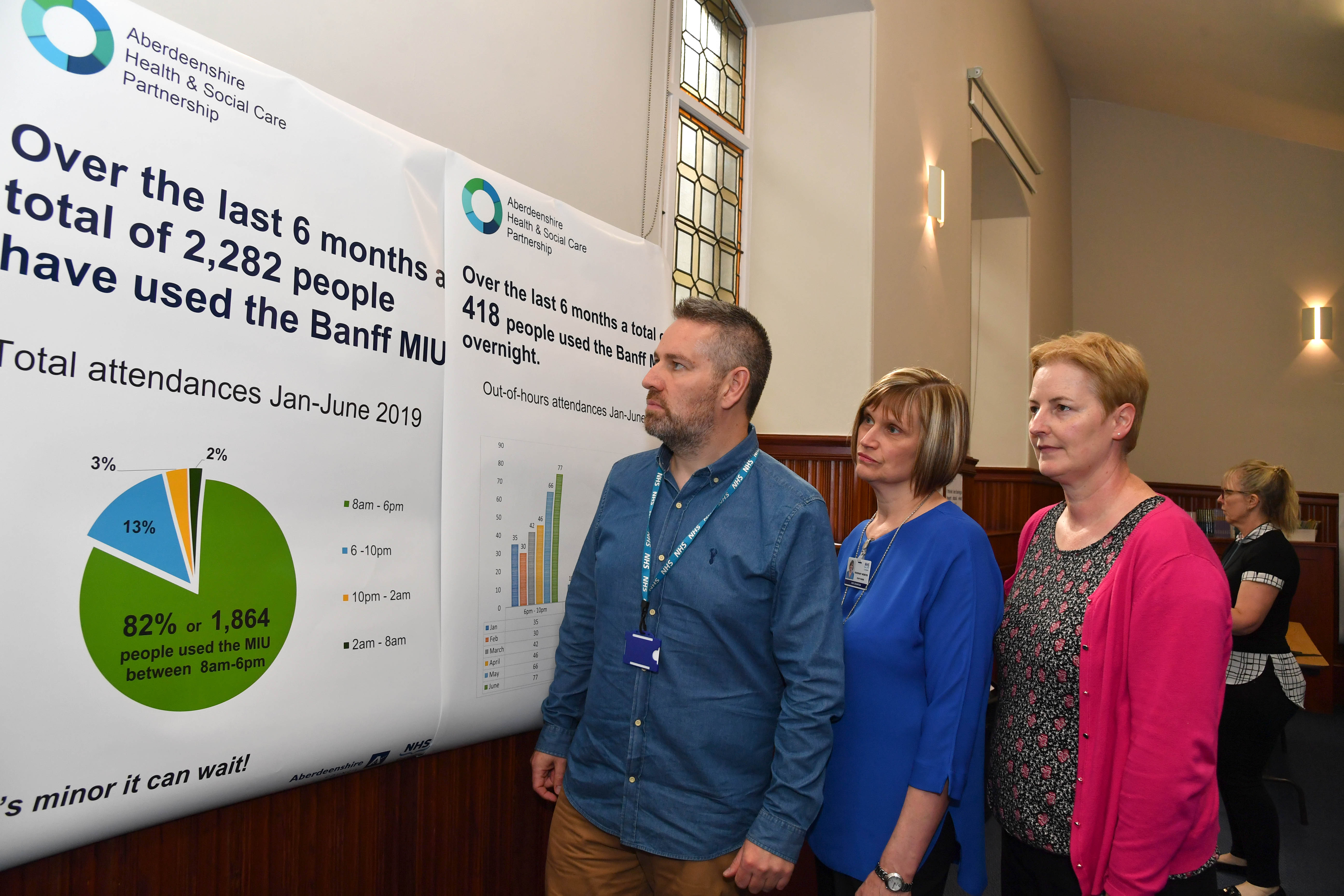 REVIEWING THE STATISTICS ON MINOR INJURIES IN BANFF AND DISTRICT ARE (L TO R) NHS PARTNERSHIP MANAGER MARK SIMPSON, STAFF NURSE ROSIE WEBSTER AND SENIOR CHARGE NURSE KIRSTY GIBB.   .