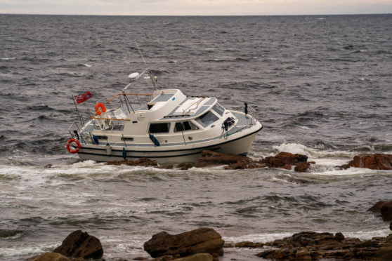 The ran aground vessel at Burghead.