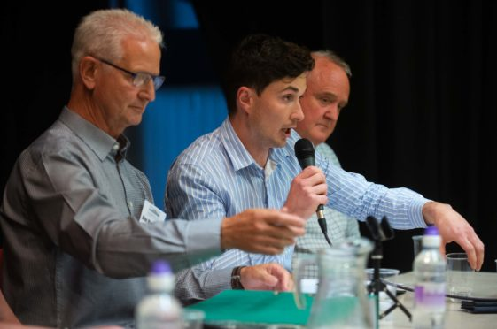 From left: Lossiemouth Community Development Trust;s Alan McDonald, Huw Williams and Rab Forbes at last night's footbridge public meeting