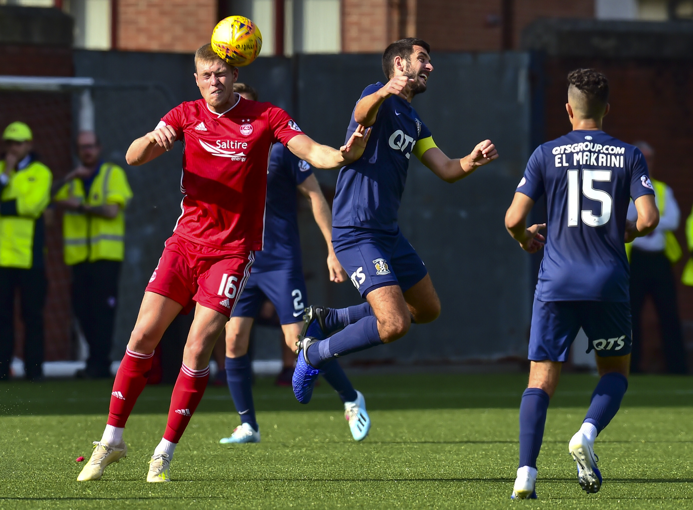Aberdeen's Sam Cosgrove and Mohammed El Makrini in action.