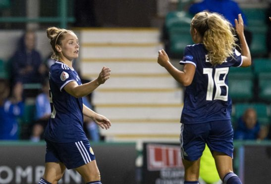 Kim Little (left) provided three of Scotland's five goals with Claire Emslie (right) also on the scoresheet.