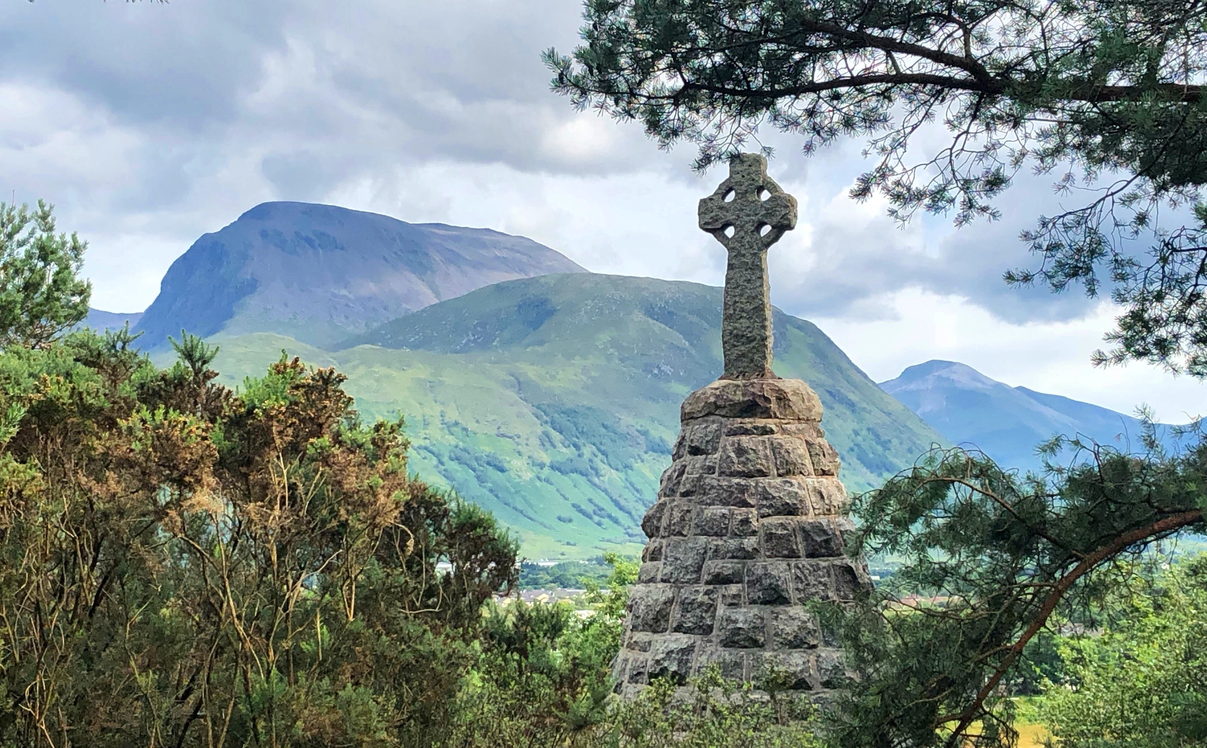 First World War memorial cross above Banavie looking across to Ben Nevis.