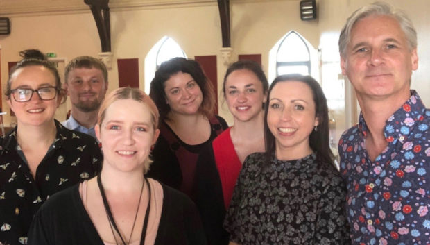 Penumbra staff in Aberdeen (l-r) Andrea Tait, Rebecca Thomson, Christy Sandbergen and Rachel Middleton, received DBI extension training from Dr Jack Melson (second left) and Professor Rory O'Connor (right) from the University of Glasgow's Institute of Health