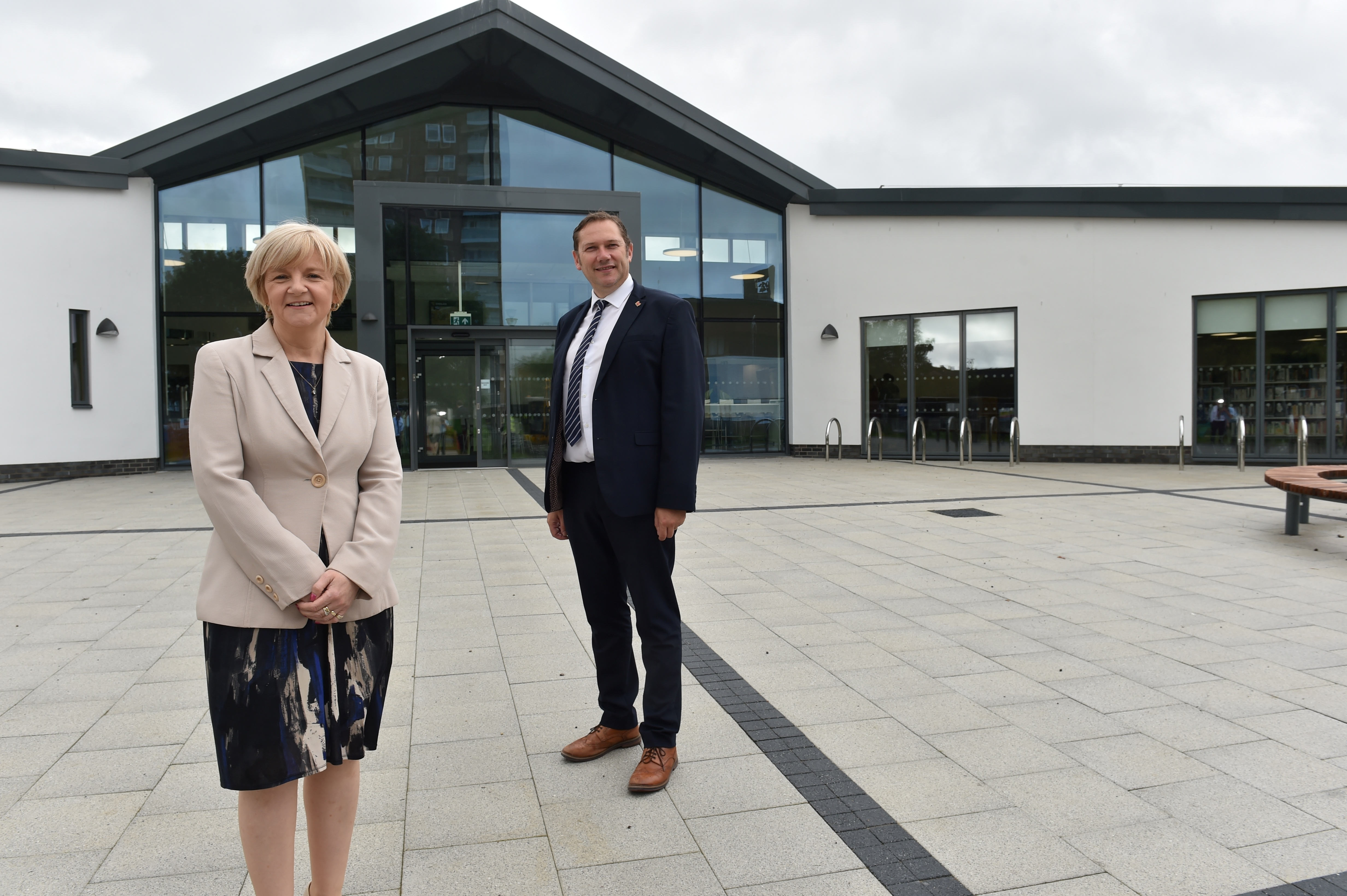 Aberdeen Council co-leaders Douglas Lumsden and Jenny Laing received a first look around the new Tillydrone Community Campus.